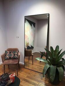 Leaner / Wall Modern Black Framed Mirror