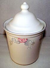 Pfaltzgraff Canister Wyndham Tea Coffee Floral Gray Pink Stoneware Storage Lid