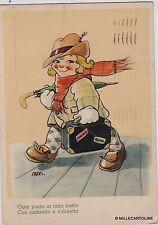 # VELLANI MARCHI: BAMBINA IN PARTENZA..CON OMBRELLO E VALIGETTA n. 1007   1942