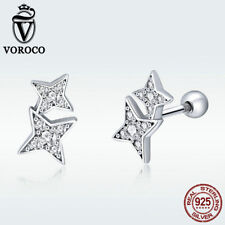 Voroco 925 Sterling Silver Ear Stud Earrings Four-pointed Star Crystal Jewelry