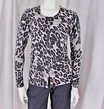 Ann Taylor sz M Black Gray Animal Print Silk Cashmere Ruched LS Cardigan Sweater