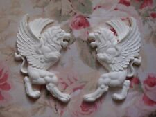 New!  Lion Griffin Pair Left & Right Furniture Applique Architectural Pediment