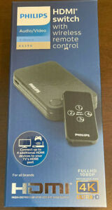 PHILIPS 4 PORT HDMI SWITCH WITH REMOTE BLACK-NEW IN BOX
