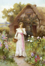 "Lady in ""A Cottage Garden"" by William Affleck vintage art"