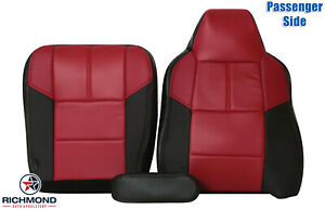 2007 Ford F250 F350 OUTLAW-Passenger Side Complete Leather Seat Covers Black/Red