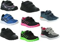 KIDS BOYS GIRLS TOUCH STRAP LACE UP SPORTS BACK TO SCHOOL CHILDREN TRAINERS SHOE