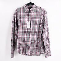 Untuckit Men's Size Medium Rousseau Long Sleeve Flannel Plaid Shirt Regular Fit