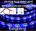1M SMD 3528 FLEXIBLE WATERPROOF BLUE LED STRIP LIGHT CAR UTE VAN CAMPING CARAVAN