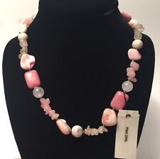 """PRECIOUS LIANG ROSE QUARTZ STERLING SILVER NECKLACE 18"""" Natural Stone Pink Opal"""