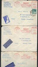 GERMANY U.S. 1949 POST WAR THREE STUTTGART METER COVERS TO DANBURY CT.