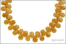 40 Yellow Jade Flat Pear Beads 6x9mm #68033