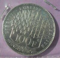 100 Francs Panthéon 1982 : SUP+ : pièce de monnaie Française ARGENT N9