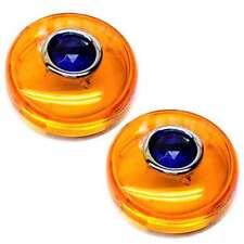 2 Amber Snap In Bullet Turn Signal Lenses for 02-16 Harley - Real Glass Blue Dot