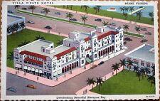 Miami, FL 1940s Linen Postcard: Villa D'Este Hotel - Biscayne Blvd. & 8th St.