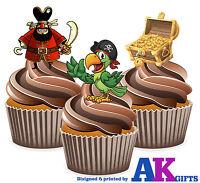 PRECUT Pirate Parrot Treasure 12 Edible Cupcake Toppers Decorations Birthday