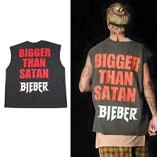 Justin Bieber Bigger than Satan fear god FOG tank top vest concert custom design