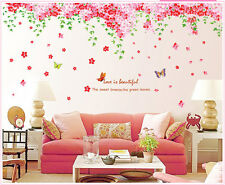 Pink Blossom Butterfly Wall Art Sticker Decals Quote Home Bedroom Nursery Decor