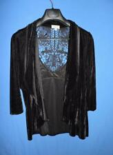 One World 1X Black Velvet Cardigan Shirt Jacket Floral Lace Back Open Front 1XL