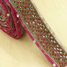 Indian Vintage Pink Sari Hand Beaded Border Antique Ribbon Sewing Used 1YD Trim