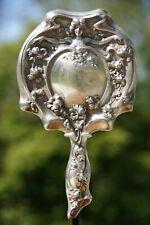 Vintage Art Nouveau Repoussé Silver Plated Hand Mirror Flowered w/ Angel / Woman