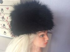 Faux Fur Hat Ladies Russian Cossack Beret Black M&S Small Medium New