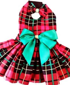 DOG DRESS/HARNESS  .  Christmas  red plaid  NEW FREE SHIPPING