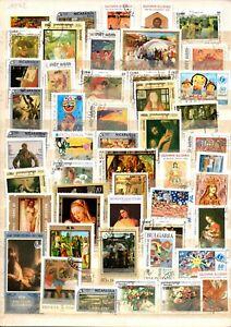 TIMBRES   lot de 50 timbres oblitérés thème peintures.