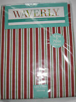 """Waverly Fabric Tablecloth Christmas Red White Green Striped 60"""" X 84"""" Oblong NEW"""