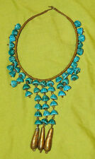 VINTAGE AFRICAN COLLAR NECKLACE ceramic brass wire gold turquoise choker collar