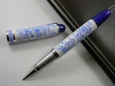Blue And White Porcelain With Blue Flower Painting Metal Rollerball Pen