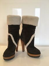 Dolce Gabbana Sheepskin Boots Great Condition, Wood Platform w Rubber, Size EU36
