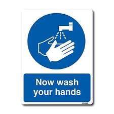 Now Wash Your Hands A6 105x148mm Washroom Toilet Sign Hygine Vinyl Sticker