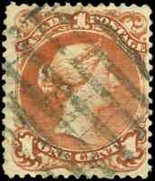 Canada #22 used F-VF HR 1868 Queen Victoria 1c brown red Large Queen CV$140.00