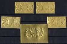Local- Isle of Man Churchill JFK United Nations Gold Foil Stamps Set of 5  -sr