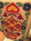 Vintage Swedish Folkart Hooked Rug