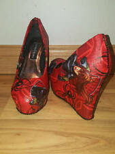 Black Widow themed - red - Womens Platform Wedge - Size 7 - Custom Made - Ready