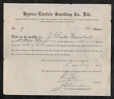 1916 Newfoundland Hydro-Electric Smelting Co. Stock Certificate Mining