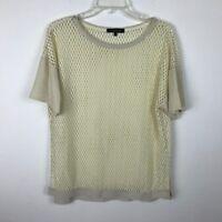 Womens Lafayette 148 Blouse Size S Ivory Crochet Short Sleeve Faux Leather Top