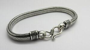 1 Piece Bracelets Chain Bali Silver Snake Chain Handmade Bracelet 21 cm Long