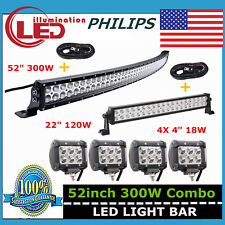 "Philips 52"" 300W Curved LED Light Bar+ 22"" 120W+ 18W Spot Lights+ 2X Wiring Kit"