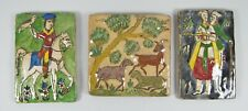 Lot of 3 Antique Hand Painted Persian High Relief Faience Pottery Tiles
