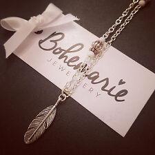 18 Inch white howlite feather charm necklace gemstone bijoux jewellery boho