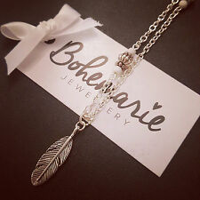 18 Pulgadas Blanco Howlite Feather encanto Collar De Piedras Preciosas Bijoux Joyas Boho