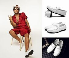 BRUNO MARS 24K Magic Album Cover Similar Style White Deck Shoes Boat Shoes