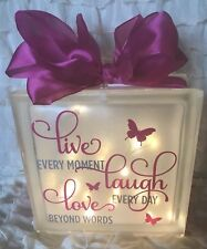 LED Glass Light Up Block Live Laugh Love Quote Lamp Gift