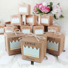 10PCS Baby Shower Gift Favor Little Prince Boy Blue 1St Birthday Party Candy Box