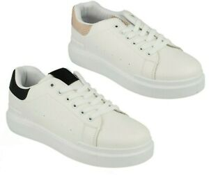 F7R203 LADIES SPOT ON FLATFORM TRAINERS SNEAKERS WIDE FIT WALKING SHOES SIZE