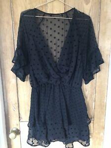 Zara Black Frill Dress Size L