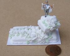 1:12 Scale 2 Piece Wedding Cake + Bride & Groom Tumdee Dolls House Accessory W