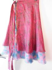 Ishka Boho Pure Silk Pink and blue floral reversable wrap around skirt open size